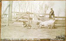 1910 Realphoto Postcard: Ram Butting Man on Farm, Children- O'Neill, Nebraska NE