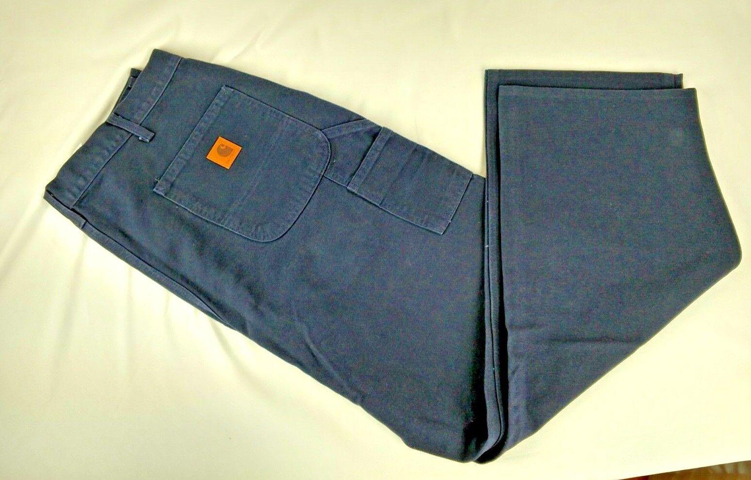 Carhartt Dungaree Original Fit Work Pants 38 32 B11 MDT Navy bluee Carpenter Jean