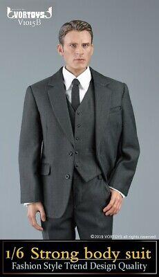 1//6 VORTOYS V1015A Male Black Suit Clothes Model F 12/'/' Figure Mulcular Body Toy