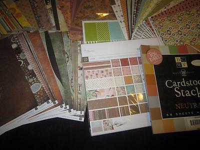 HUGE LOT 175 SHEETS 12X12 SCRAPBOOK PAPER CARD STOCK, ECHO PARK, DSVW,  BO BUNNY
