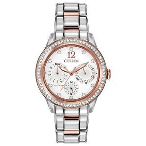 Citizen-Eco-Drive-Women-039-s-FD2016-51A-Swarovski-Crystal-Two-Tone-37mm-Watch