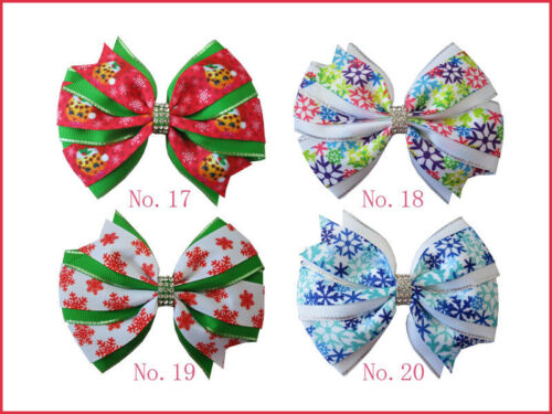 """100 BLESSING Girl 4.5/"""" Two Tone Wendy Hair Bow Clip Winter Halloween Christmas"""