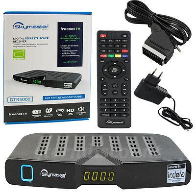 H.265 DVB-T2 Freenet.TV Receiver Terrestrisch HDTV Skymaster Digital HEVC Schwar