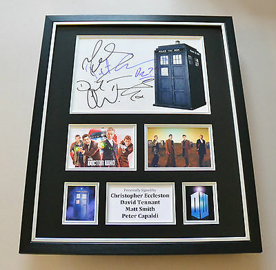 Dr Who Eccleston, Tennant, Smith & Capaldi Signed Photo Large Framed Display COA