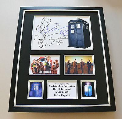 Dr Who Eccleston, Tennant, Smith & Capaldi Signed Photo Large Framed Display COA
