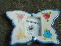 "Ceramic Butterfly & Flower Desk Photo Frame Photo Size 1.75"" X 2"" Special Moment"