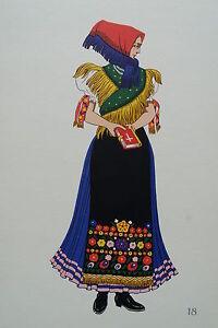 -2-5-18 Gravure Costume De Fête De Mezökövesd Hongrie ChronoméTrage Ponctuel