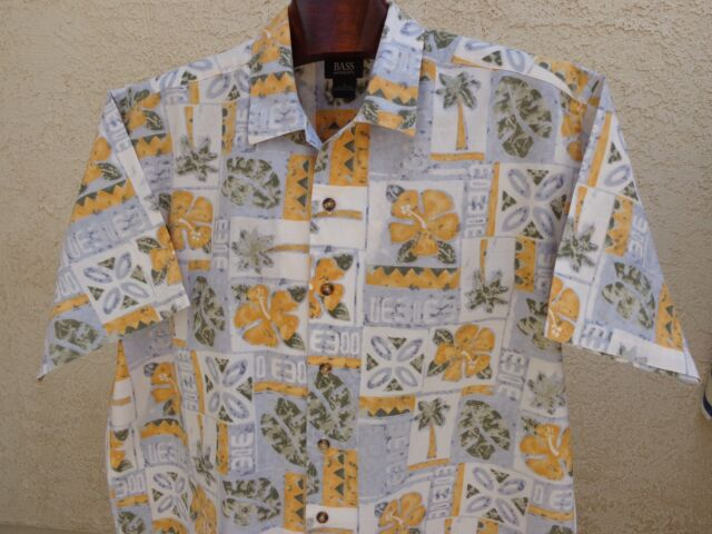 Men's G.H. BASS & CO L 100% Cotton Hawaiian Vintage Short Sleeve Hibiscus & Palm