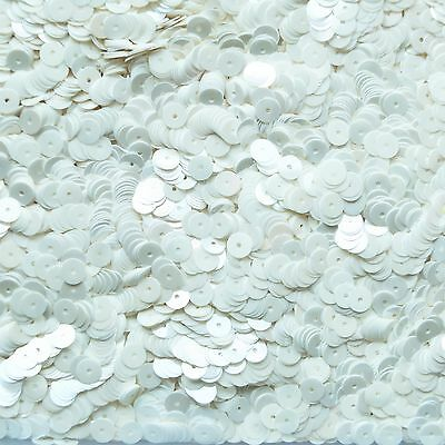 6mm Flat Loose Sequin Paillette Opaque French White Pearl Made in USA