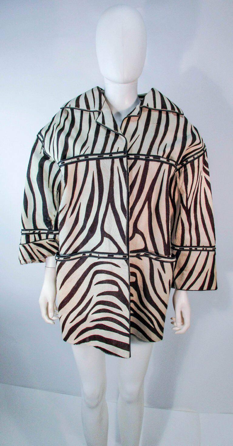 AMEN WARDY Zebra Pattern Cowhide Coat Size 4-8 - image 5