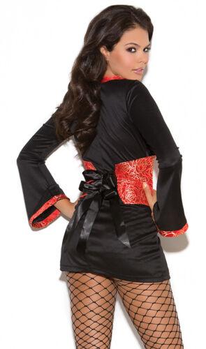 Oriental Goddess Costume Dress Tapestry Sash Geisha Asian Red Black 9091