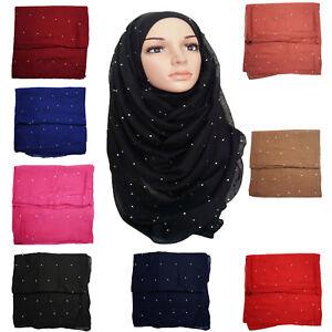 High-Quality-Large-Oversize-Crystal-Diamante-Stud-Plain-Scarf-Shawl-Hijab-Wrap