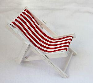 mini deko liegestuhl 19 x 10 cm strandstuhl holz textil rot weiss ebay. Black Bedroom Furniture Sets. Home Design Ideas