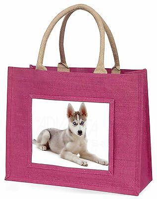 Sibirischer Husky Welpe Große Rosa Einkaufstasche Weihnachten Geschenkidee,