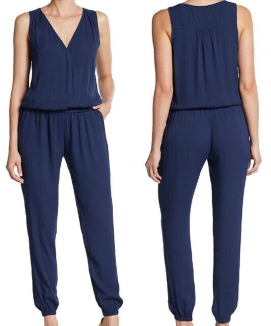 ac5d69e522b JOIE Corrine V Neck Sleeveless Jumpsuit in Dark Blue Size L for sale ...