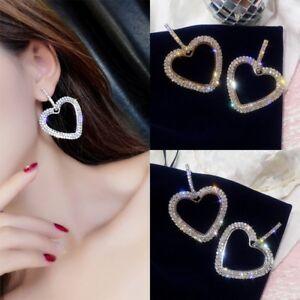 3bb1e9c06 Image is loading Women-Heart-Love-Earrings-Ladies-Bling-Crystal-Rhinestone-