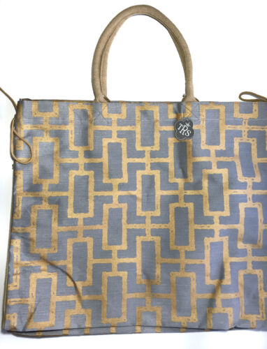 Traveling Bag Gray /& Gold Striped Tote Beach Tote NEW