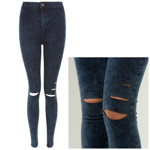 Ladies-New-Look-Acid-Wash-High-Waist-Super-Skinny-Ripped-Jeans-Sizes-8-10-12-14