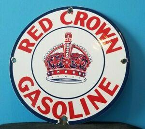 VINTAGE RED CROWN GASOLINE PORCELAIN GAS MOTOR SERVICE STATION PUMP PLATE SIGN