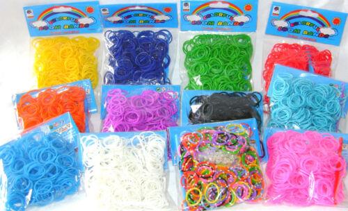 Nouveau 300 Élastique Bandes élastiques Pour Amitié Loom crochet et fermoirs Rainbow AP