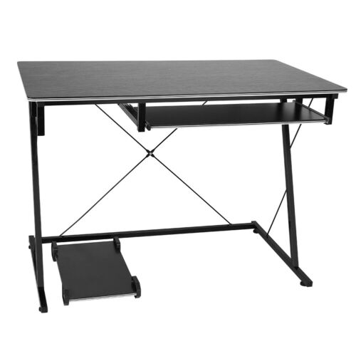 Z Shaped Computer Desk PC Home Office Study Workstation Table w//Keyboard Tray US