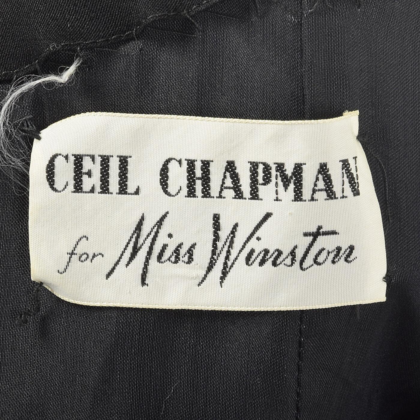 XXS 1960s Ceil Chapman Evening Dress Designer Bla… - image 8