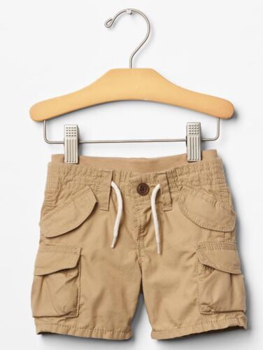 Brown GAP Baby Boy Size 0-3 Months NWT Beige Tan Khaki Pull-On Cargo Shorts