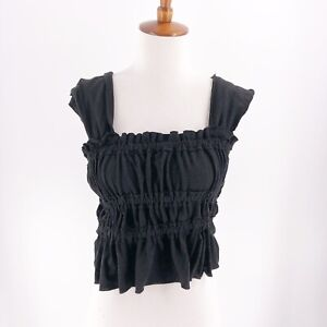 Free-People-Sleeveless-Blouse-Top-Size-Extra-Small-Black-Tank-Top-Cropped-NWOT