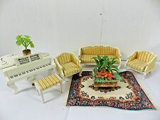 Lundby Sweden Living Room Couch Chairs Rug Table Piano Stool Plants Dollhouse