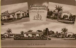 Multi-View-Coronado-Motor-Motel-US-Highway-80-Yuma-Arizona-AZ-Postcard-A18