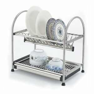 Image is loading 304-Stainless-Steel-2-Tier-Dish-Drying-Rack-  sc 1 st  eBay & 304 Stainless Steel 2-Tier Dish Drying Rack Plates Bowl Storage ...