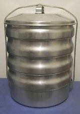 Vintage Buckeye Aluminum 5 Stacking Pans Picnic Pack USA  Camping Pie Carrier
