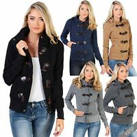 Womens Ladies Zip Off Hood Duffle Jacket Fleece Jersey Toggle Blazer Coat Hoodie