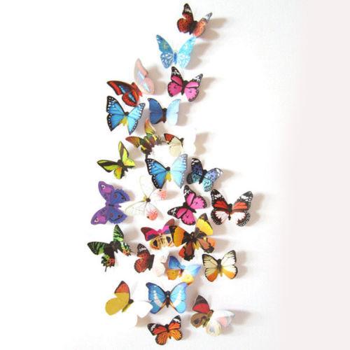 24-96PCS 3D DIY Butterfly PVC Art Decal Home Decor Kids Room Wall Mural Stickers