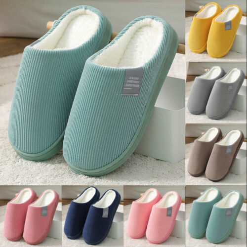 Male And Female Couples Indoor Autumn And Winter Warm Solid Half-pack Slippers