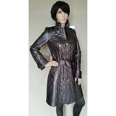 Bnwt BURBERRY NIGHTSWORTH TRENCH.mac.coat.leather.metallic.quilted.uk 8.£1499