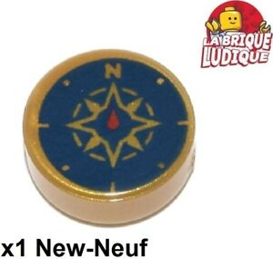 Lego-1x-Azulejo-Round-Decorado-1x1-Brujula-Oro-Pearl-Gold-98138pb045-Nuevo