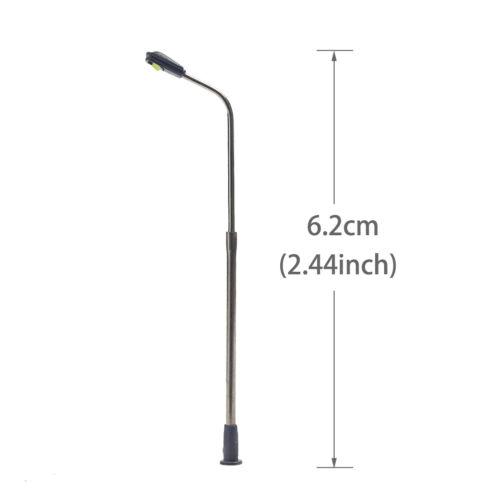 Modellbahn Zug Weiß Lamp Post Straßenlaternen Spur N LEDs 6,2cm LQS06 10-20Stk