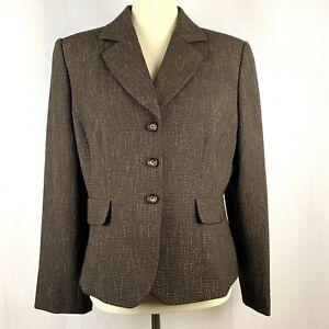 Tahari-Womens-Size-14-Petite-Brown-Tweed-Blazer-Career-Jacket