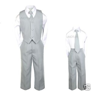 5 4pc Formal Wedding Party Gift Boy Dark Gray Grey Silver Vest Set Suit S-14