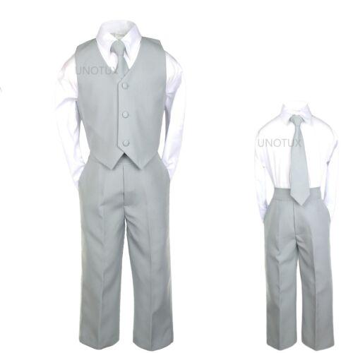 Boy Wedding Formal Party Vest Set Suits Silver Gray Grey S M L XL 2T 3T 4T 5 6 7