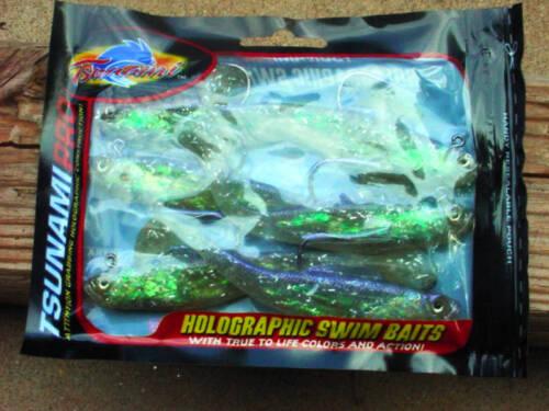 "Tsunami Pro Holographic 4/""Swim Baits 6 Pack Model PTM4-10"