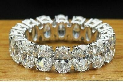 7Ct Oval Cut Diamond Iced Full Eternity Queen Wedding Band 14K White Gold Finish