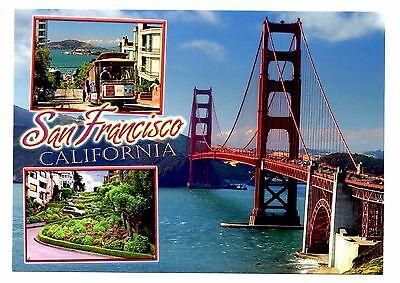 San Francisco California Postcard Golden Gate Bridge New Trolley Crooked Street