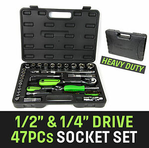 47-Piece-1-4-034-amp-1-2-034-Drive-Ratchet-Socket-Set-Metric-4-27mm-Screwdriver-Bit-Set