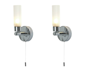 Pair of modern chrome ip44 bathroom wall light with pull cord switch image is loading pair of modern chrome ip44 bathroom wall light aloadofball Gallery