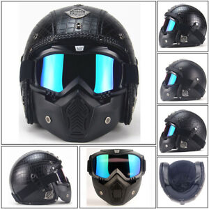 DOT Motorcycle Helmet Open Face Riding LeatherHelmet Street Bike Cruiser Scooter