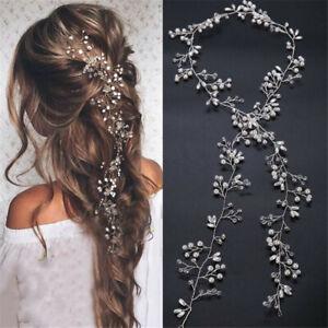 Women-Wedding-Flower-Girl-Bride-Crystal-Pearl-Hair-Band-Head-Piece-Garland-Decor