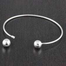 Womens 925 Sterling Silver Plain 8mm Balls Screw Bangle Cuff Bracelet