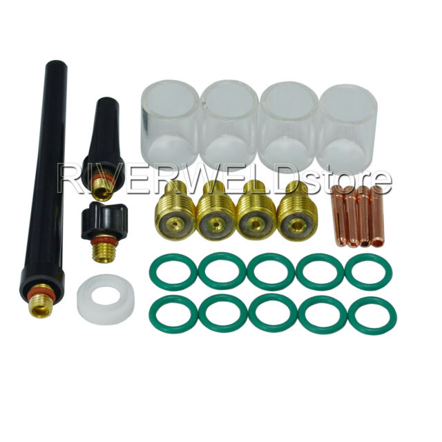 RIVERWELD Pyrex Cup Long 10# Tungsten Apdapter Kit for SR WP 17 18 26 Series TIG Welding Torches Part 11 pieces
